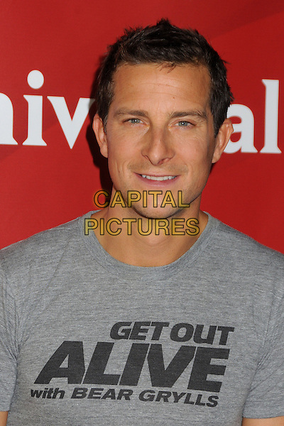 Bear Grylls.NBC Universal Summer Press Day 2013 held at the The Langham Huntington Hotel & Spa, Pasadena, California, USA..April 22nd, 2013.headshot portrait grey gray t-shirt writing get out alive with.CAP/ADM/BP.©Byron Purvis/AdMedia/Capital Pictures