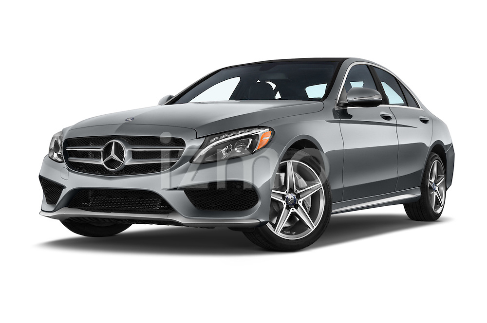 Stock pictures of low aggressive front three quarter view of a 2018 Mercedes Benz C-Class C300 Sport 4 Door Sedan Low Aggressive