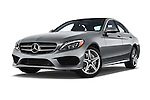 Stock pictures of low aggressive front three quarter view of a 2015 Mercedes Benz C-Class C300 Sport 4 Door Sedan Low Aggressive