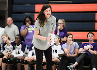 NWA Democrat-Gazette/CHARLIE KAIJO Fayetteville High School head coach Jessica Phelan gives directions during a volleyball game, Thursday, October 11, 2018 at Rogers Heritage High School in Rogers.