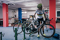 2017 TT World Champion Annemiek van Vleuten (NED/Mitchelton-Scott) getting ready for training with her costumized Scott Plasma TT bike<br /> <br /> Mitchelton-Scott Women's team training camp in Oliva (Alicante) /Spain, may 2018<br /> &copy;kramon