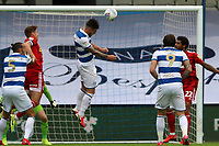 Ryan Manning of Queens Park Rangers  header goes wide during Queens Park Rangers vs Fulham, Sky Bet EFL Championship Football at the Kiyan Prince Foundation Stadium on 30th June 2020