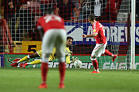 Jojo Wollacott of Forest Green Rovers saves a penalty from Jake Forster-Caskey of Charlton Athletic during Charlton Athletic vs Forest Green Rovers, Caraboa Cup Football at The Valley on 13th August 2019