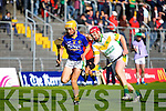 John Griffin Lixnaw in action against Sean Maunsell Kilmoyley in the County Senior Hurling final at Austin Stack Park on Saturday.