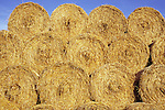 Circular bales of farmyard straw stacked under clear blue sky