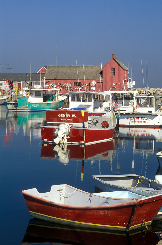 harbor, lobster boats, Rockport, MA, Massachusetts, Fishing boats docked in Rockport Harbor in the fishing village of Rockport in the fall.
