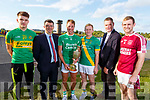 Representing the 4 semi finalists at the draw for the Senior Hurling Championship in the Tralee Bay Wetlands on Monday evening. Barry Shanahan (Lixnaw), Jim Garvey (Garveys Supervalu), Paud Costello (Ballyduff),  Daniel Collins (Kilmoyley), Tim Murphy (Chairman Kerry Co Comm) and Tommy Barrett (Causeway)