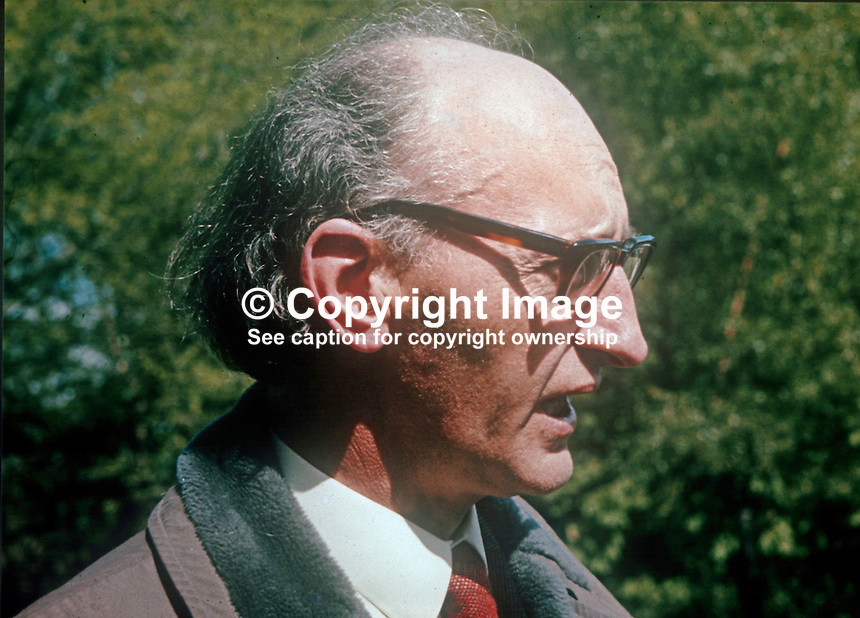Tomas MacGiolla, president, Sinn Fein, April 1972. During 1972 Sinn Fein renounced the armed struggle and became Sinn Fein the Workers&rsquo; Party. 197204000322TMG<br /> <br /> Copyright Image from Victor Patterson, 54 Dorchester Park, Belfast, UK, BT9 6RJ<br /> <br /> t1: +44 28 9066 1296<br /> t2: +44 28 9002 2446<br /> m: +44 7802 353836<br /> <br /> e1: victorpatterson@me.com<br /> e2: victorpatterson@gmail.com<br /> <br /> www.victorpatterson.com<br /> <br /> IMPORTANT: Please see my Terms and Conditions of Use at www.victorpatterson.com
