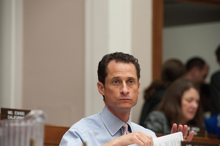 """UNITED STATES - June 2 : Anthony Weiner, D-NY., during a House Energy and Commerce Committee - Markup of H.R.1705, the """"Transparency in Regulatory Analysis of Impacts on the Nation (TRAIN) Act of 2011,"""" and H.R.2021, the """"Jobs and Energy Permitting Act of 2011."""" The markup was held in 2123 Rayburn House Office Building. (Photo By Douglas Graham/Roll Call via Getty Images)"""