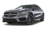 Stock pictures of low aggressive front three quarter view of a 2015 Mercedes Benz GLA-KLASSE AMG 5 Door SUV Low Aggressive