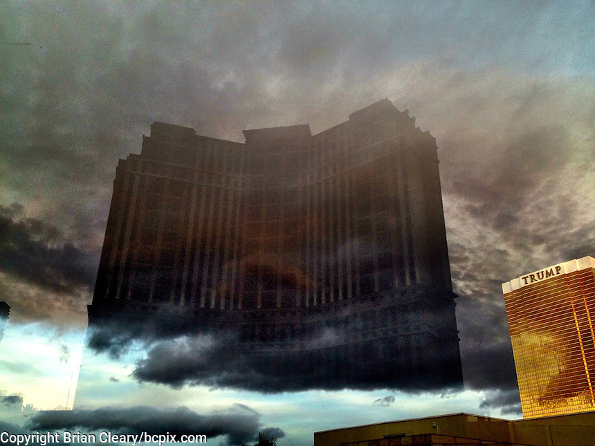 Reflectio of casinos and clouds in plexiglass,  the Las Vegas strip,  Las Vegas, NV, iPhone photo from the instgram photo stream of bcpix, Florida-based freelance photographer Brian Cleary. (Photo by Brian Cleary/ www.bcpix.com )