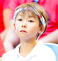 8th January 2020; RAC Arena, Perth, Western Australia; ATP Cup Australia, Perth, Day 6; Spain versus Japan; a Japanese supporter watches the match between Japan and Spain - Editorial Use