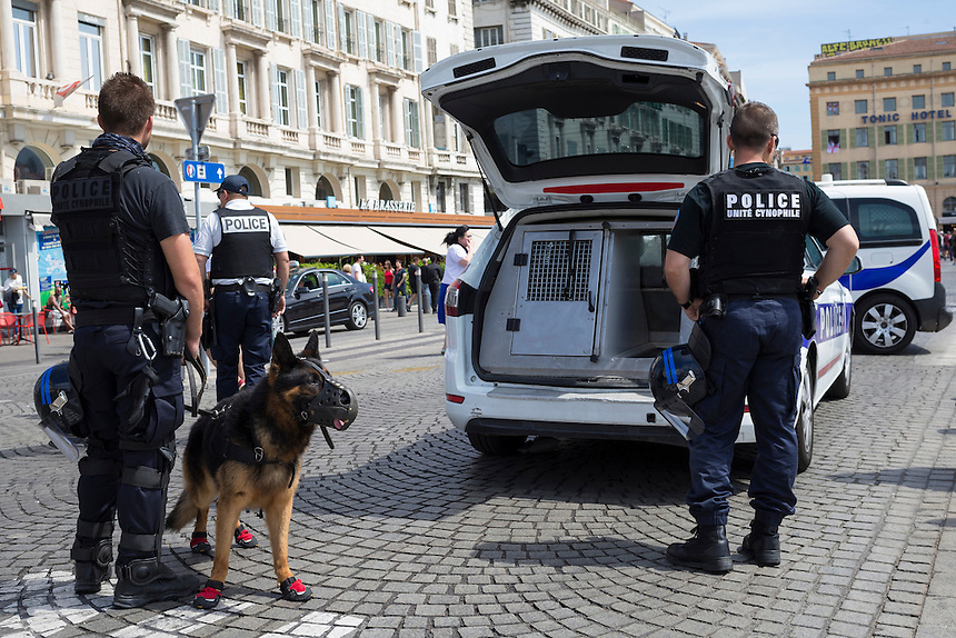 Riot police with dogs stand poised for action if required, as they watch over England fans in the pre-match build-up in Marseille old town<br /> <br /> Photographer Craig Mercer/CameraSport<br /> <br /> International Football - 2016 UEFA European Championship - Group B - England v Russia - Saturday 11th June 2016 - Stade Velodrome, Marseille - France <br /> <br /> World Copyright &copy; 2016 CameraSport. All rights reserved. 43 Linden Ave. Countesthorpe. Leicester. England. LE8 5PG - Tel: +44 (0) 116 277 4147 - admin@camerasport.com - www.camerasport.com