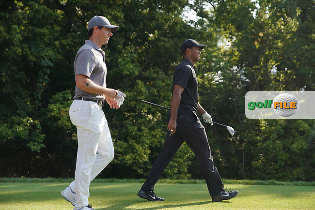 Rory McIlroy (NIR) and Tiger Woods (USA) walk the 17th hole during the second round of the 100th PGA Championship at Bellerive Country Club, St. Louis, Missouri, USA. 8/11/2018.<br /> Picture: Golffile.ie | Brian Spurlock<br /> <br /> All photo usage must carry mandatory copyright credit (© Golffile | Brian Spurlock)
