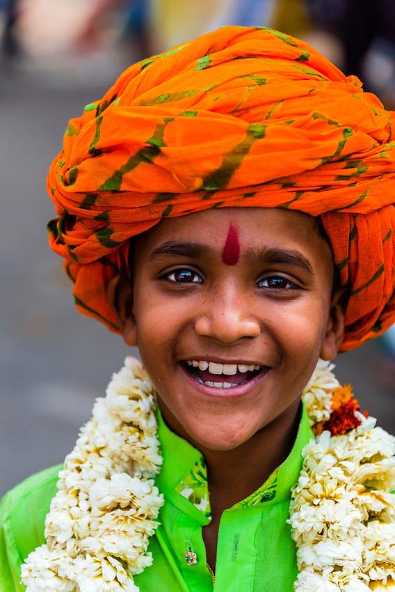 Young Indian boy at a Hindu Festival, Jaipur, Rajasthan, India.