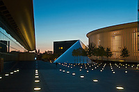 The Luxembourg Philharmonie with the Melia Hotel and the European and Congress Center on the Kirchberg plateau.