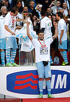 Calcio, finale di Coppa Italia: Roma vs Lazio. Roma, stadio Olimpico, 26 maggio 2013..Lazio midfielder Antonio Candreva, bottom, celebrates at the end of the Italian Cup football final match between AS Roma and Lazio at Rome's Olympic stadium, 26 May 2013. Lazio won 1-0..UPDATE IMAGES PRESS/Isabella Bonotto....