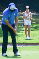 Kelley Cahill watches her boyfriend Jon Rahm (ESP) putt on 2  during round 1 of the World Golf Championships, Mexico, Club De Golf Chapultepec, Mexico City, Mexico. 3/2/2017.<br /> Picture: Golffile | Ken Murray<br /> <br /> <br /> All photo usage must carry mandatory copyright credit (&copy; Golffile | Ken Murray)