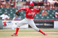 Reading Phillies relief pitcher Les Walrond #49 delivers a pitch during a game against the Erie Seawolves at Jerry Uht Park on May 29, 2011 in Erie, Pennsylvania.  Erie defeated Reading 6-5 in ten innings.  Photo By Mike Janes/Four Seam Images
