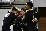 GREENSBORO, NC - DECEMBER 02: Gustav Ericsson #40 of North Park University celebrates with teammates after scoring a goal against Messiah College during the Division III Men's Soccer Championship held at UNC Greensboro Soccer Stadium on December 2, 2017 in Greensboro, North Carolina. Messiah College defeated North Park University 2-1 to win the national title. (Photo by Grant Halverson/NCAA Photos via Getty Images)