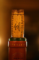 Closeup of a bottle neck with a cork. Chateau Carbonnieux Grand Cru Classe de Graves, Pessac Leognan, Bordeaux, Gironde Aquitaine