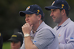 23rd September, 2006. .European Ryder Cup Team captain Ian Woosnam and player Jose Maria Olazabal watch play on the 18th green during the afternoon foursomes session of the second day of the 2006 Ryder Cup at the K Club in Straffan, County Kildare in the Republic of Ireland..Photo: Eoin Clarke/ Newsfile.