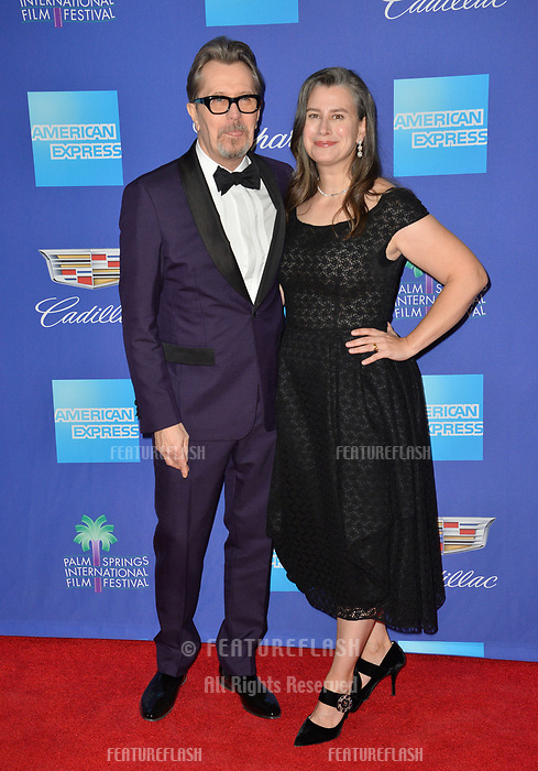 Gary Oldman &amp; Gisele Schmidt at the 2018 Palm Springs Film Festival Awards at Palm Springs Convention Center, USA 02 Jan. 2018<br /> Picture: Paul Smith/Featureflash/SilverHub 0208 004 5359 sales@silverhubmedia.com