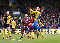 7th March 2020; Selhurst Park, London, England; English Premier League Football, Crystal Palace versus Watford; Christian Benteke of Crystal Palace with an overhead kick