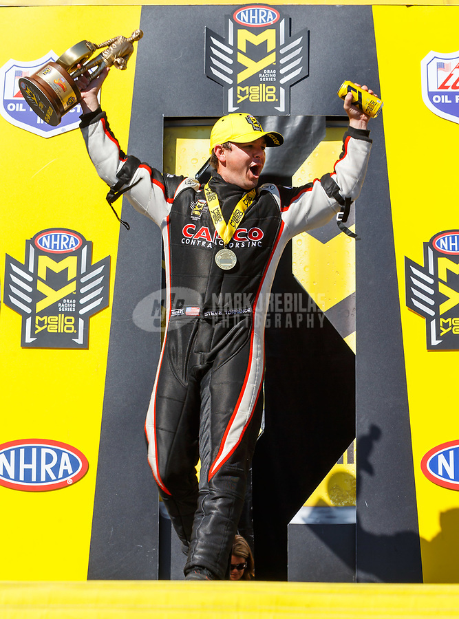 May 7, 2017; Commerce, GA, USA; NHRA top fuel driver Steve Torrence celebrates after winning the Southern Nationals at Atlanta Dragway. Mandatory Credit: Mark J. Rebilas-USA TODAY Sports