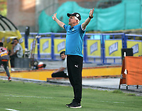 NEIVA- COLOMBIA, 13-07-2019:Humberto Sierra director técnico de La EquidadAcción de juego entre los equipos del Atlético Huila y La Equidad  durante partido por la fecha 1 de la Liga Águila II 2019 jugado en el estadio Guillermo Plazas Alcid de la ciudad de Neiva. /Humberto Sierra coach of Equidad.Action game between teams Atletico Huila and Equidad during the match for the date 1 of the Liga Aguila II 2019 played at the Guillermo Plazas Alcid Stadium in Neiva  city. Photo: VizzorImage / Sergio Reyes / Contribuidor.