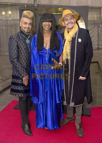Jay Kamiraz, Sandi Bogle and David Anthony Smith attends the India, Pakistan and London Fashion Show (IPL Fashion Show) at The Gibson Hall in London, England on the 4th March 2017 <br /> CAP/GM/PP<br /> &copy;Gary Mitchell/PP/Capital Pictures
