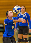 1 November 2015: Yeshiva University Maccabee Setter and Defensive Specialist Yael Ghelman, a Sophomore from Houston, TX, bumps one against the SUNY College at Old Westbury Panthers at SUNY Old Westbury in Old Westbury, NY. The Panthers edged out the Maccabees 3-2 in NCAA women's volleyball, Skyline Conference play. Mandatory Credit: Ed Wolfstein Photo *** RAW (NEF) Image File Available ***