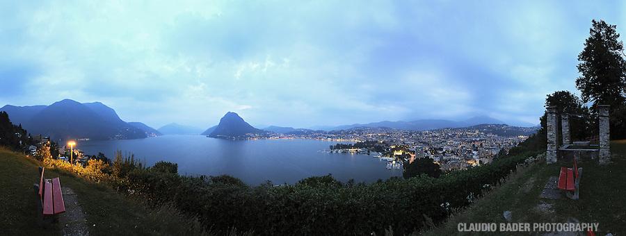 Switzerland; Ticino Region; Lugano; Lake of Lugano, Evening