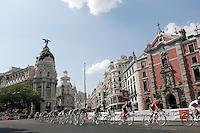 Alberto Contador (r) lead the peloton during the stage of La Vuelta 2012 beetwen Cercedilla and Madrid.September 9,2012. (ALTERPHOTOS/Paola Otero)