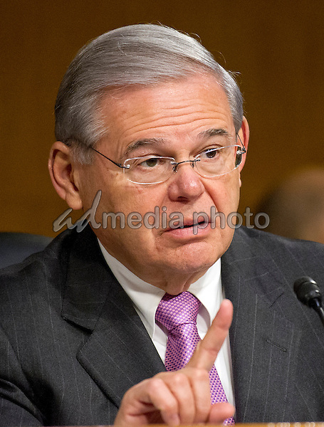 United States Senator Robert Menendez (Democrat of New Jersey) questions Janet L. Yellen, Chair, Board of Governors of the Federal Reserve System, as she testifies before the US Senate Committee on Banking, Housing, & Urban Affairs on ìThe Semiannual Monetary Policy Report to the Congressî on Capitol Hill in Washington, DC on Tuesday, February 14, 2017. Photo Credit: Ron Sachs/CNP/AdMedia