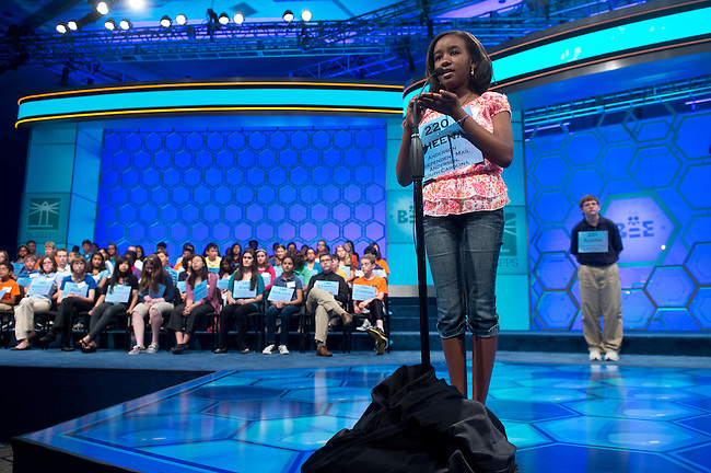 Speller 220 Sheena Wandia Chege competes in the preliminary rounds of the Scripps National Spelling Bee at the Gaylord National Resort and Convention Center in National Habor, Md., on Wednesday,  May 30, 2012. Photo by Bill Clark