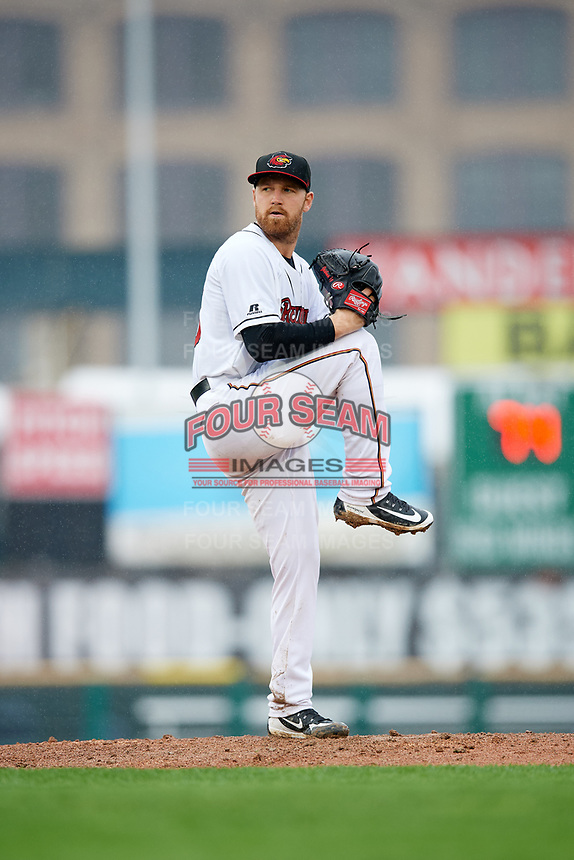 Rochester Red Wings starting pitcher Dietrich Enns (23) delivers a pitch during a game against the Scranton/Wilkes-Barre RailRiders on June 24, 2018 at Frontier Field in Rochester, New York.  The game was suspended in the fourth inning due to inclement weather.  (Mike Janes/Four Seam Images)
