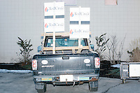 Campaign signs stand above a pickup truck before Texas senator and Republican presidential candidate Ted Cruz speaks at a town hall at Crossing Life Church in Windham, New Hampshire, on Tues. Feb. 2, 2016. The day before, Cruz won the Iowa caucus.