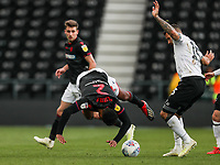 Bolton Wanderers' Mark Little competing with Derby County's Bradley Johnson <br /> <br /> Photographer Andrew Kearns/CameraSport<br /> <br /> The EFL Sky Bet Championship - Derby County v Bolton Wanderers - Saturday 13th April 2019 - Pride Park - Derby<br /> <br /> World Copyright &copy; 2019 CameraSport. All rights reserved. 43 Linden Ave. Countesthorpe. Leicester. England. LE8 5PG - Tel: +44 (0) 116 277 4147 - admin@camerasport.com - www.camerasport.com