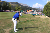 Lucas Bjerregaard (DEN) plays his 2nd shot on the playoff hole 18 during Sunday's Final Round 4 of the 2018 Omega European Masters, held at the Golf Club Crans-Sur-Sierre, Crans Montana, Switzerland. 9th September 2018.<br /> Picture: Eoin Clarke | Golffile<br /> <br /> <br /> All photos usage must carry mandatory copyright credit (&copy; Golffile | Eoin Clarke)