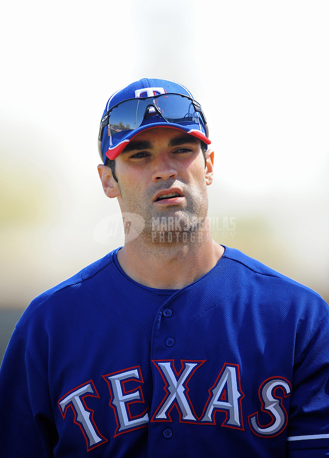 Mar. 1, 2012; Surprise, AZ, USA; Texas Rangers outfielder Conor Jackson during spring training workouts at the practice fields at Surprise Stadium.  Mandatory Credit: Mark J. Rebilas-.