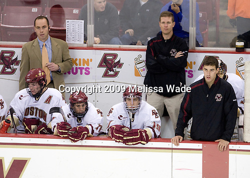 Mike Cavanaugh (BC - Associate Head Coach), Ben Smith (BC - 12), Brian Gibbons (BC - 17), Chris Kreider (BC - 19), Bert Lenz (BC - Trainer), Mike Feeley (BC - Student Manager), Chris Venti (BC - 30) - The Boston College Eagles defeated the Merrimack College Warriors 4-3 on Friday, October 30, 2009, at Conte Forum in Chestnut Hill, Massachusetts.