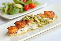 Pan Seared Scallops, Lemon Basil Risotto and Asperagus Salad. Mixed Green Salad.