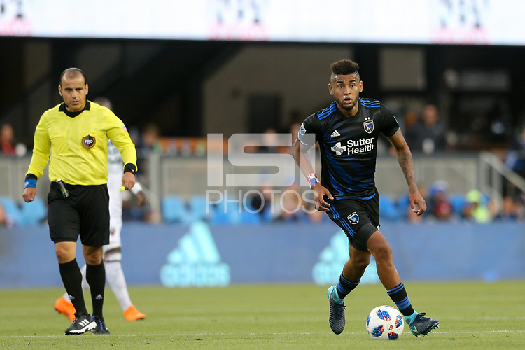 San Jose, CA - Saturday May 19, 2018: Anibal Godoy during a Major League Soccer (MLS) match between the San Jose Earthquakes and D.C. United at Avaya Stadium.