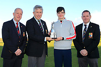 John White (Chairman GUI Ulster) presents the Trophy to Thomas Higgins (Roscommon) winner of the Ulster Boys Championship at Portrush Golf Club, Valley Links, Portrush, Co. Antrim on Thursday 1st Nov 2018.<br /> L-R: Dr. Robert Brady (Captain Royal Portrush, John White (Chairman GUI Ulster), Thomas Higgins (Roscommon) and Jonathon Dunbar (Captain Rathmore GC).<br /> Picture:  Thos Caffrey / www.golffile.ie<br /> <br /> All photo usage must carry mandatory copyright credit (&copy; Golffile | Thos Caffrey)