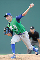 Starting pitcher Cody Reed (9) of the Lexington Legends pitches against the Greenville Drive on Friday, August 29, 2014, at Fluor Field at the West End in Greenville, South Carolina. Reed was a second-round pick of the Kansas City Royals in the 2013 First-Year Player Draft. (Tom Priddy/Four Seam Images)