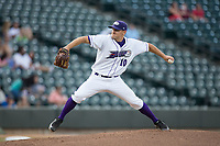 Winston-Salem Dash starting pitcher Tanner Banks (10) in action against the Myrtle Beach Pelicans at BB&T Ballpark on May 11, 2017 in Winston-Salem, North Carolina.  The Pelicans defeated the Dash 9-7.  (Brian Westerholt/Four Seam Images)