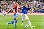 Jamie Vardy (r) of Leicester City competes for the ball with Stefan Savic of Atletico de Madrid during their 2016-17 UEFA Champions League Quarter-Finals 1st leg match between Atletico de Madrid and Leicester City at the Estadio Vicente Calderon on 12 April 2017 in Madrid, Spain. Photo by Diego Gonzalez Souto / Power Sport Images