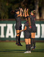 STANFORD, CA - August 10, 2018: Jaye Boissiere, Belle Briede, Carly Malatskey at Laird Q. Cagan Stadium. The Stanford Cardinal defeated the Fresno State Bulldogs 4-0.