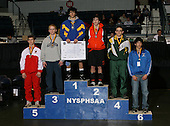 Antonio Doldo (1st - Immaculate Heart); Kenny Betts (2nd - Fredonia); Josh Mayville (3rd - Marlon); James Charland (4th - Northren Adirondack); Jesse Carling (5th - Waverly); David Rice (6th - Edgemont) pose on the podium for the Division Two 145 weight class during the NY State Wrestling Championship finals at Blue Cross Arena on March 9, 2009 in Rochester, New York.  (Copyright Mike Janes Photography)